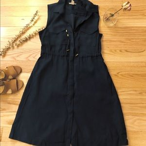 Navy Button Down Dress